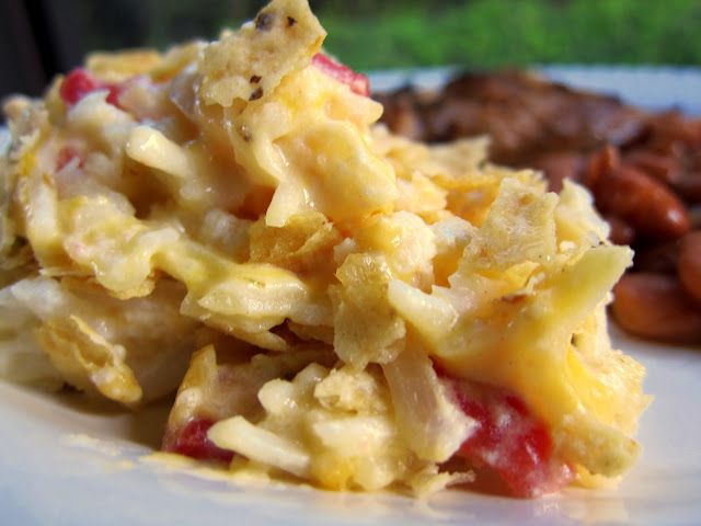Southwestern Potato Casserole Recipe - creamy potato casserole with Rotel and topped with tortilla chips. Great casserole to freeze!