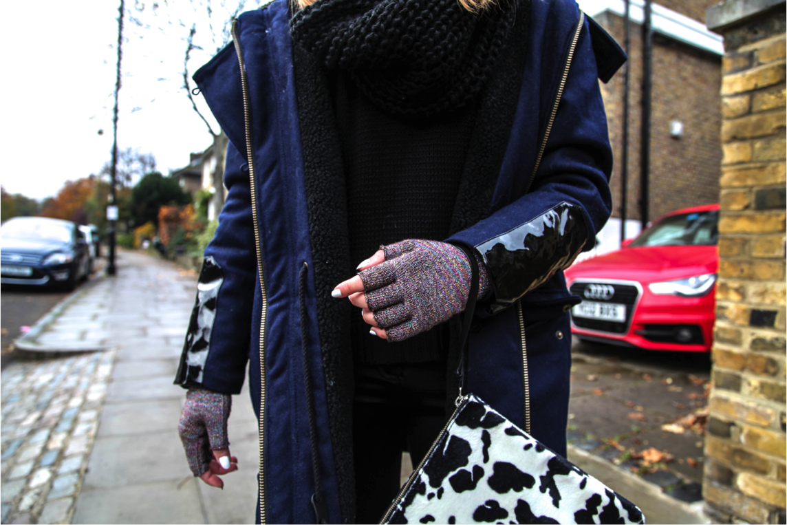 epique winter outfit details with asos parka and animal print clutch bag