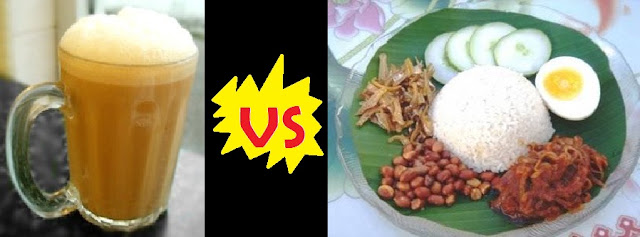 teh tarik vs nasi lemak