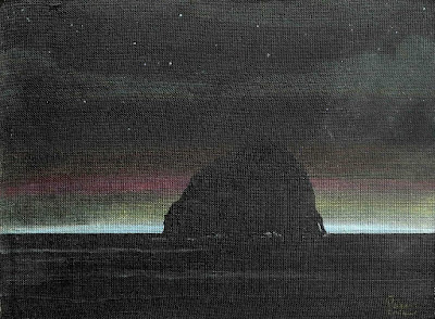 Cape Kiwanda Haystack Rock at Night, pastel on hardboard