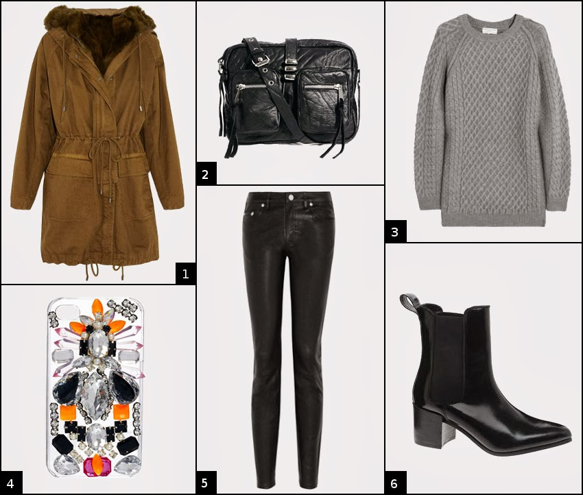 parka casual look with skinny leather jeans and patent leather booties
