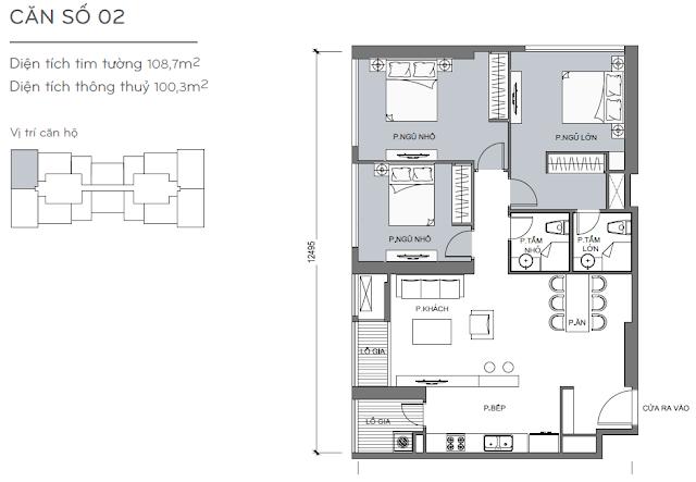 Căn hộ Vinhomes Central Park 4, 5, 6 - Kiểu nhà số 02 - 108.7m2 - 3PN