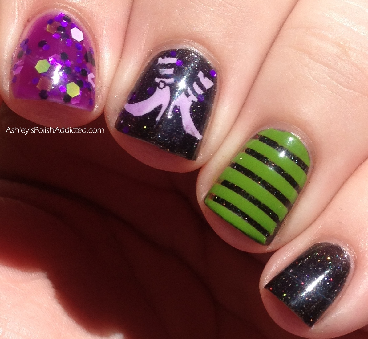 Ashley Is Polishaddicted The Nail Junkie Black Cat Witch Nail Art