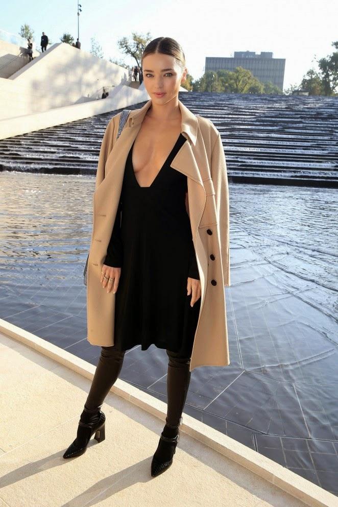 Miranda Kerr shows off plunging LBD at the Louis Vuitton Spring/Summer 2015 Paris Fashion Week Show