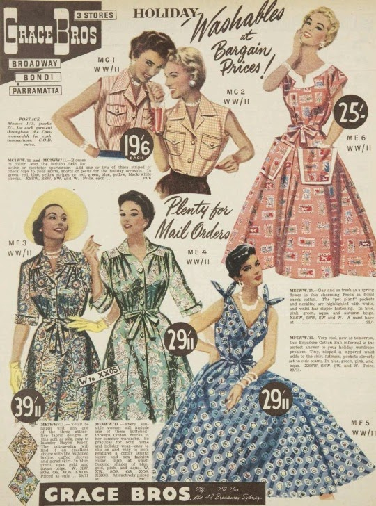 Holiday washables, vintage dresses 1955