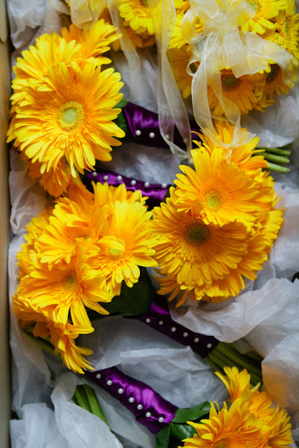 Yellow Gerbera Daisy Bridesmaids Bouquets by Lane & Lenge - Photo Courtesy of Brian Samuels Photography
