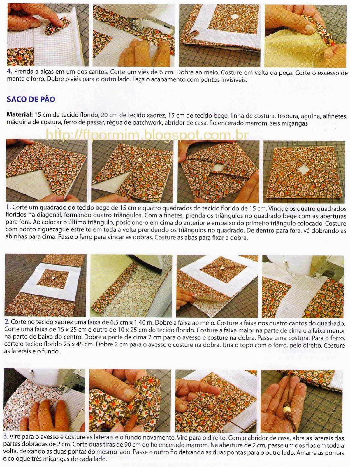 descanso de panela e saco de pão feitos em patchwork