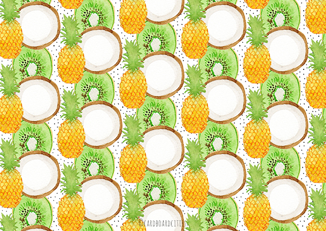 pattern with pineapple coconut and kiwi fruit painted with watercolours