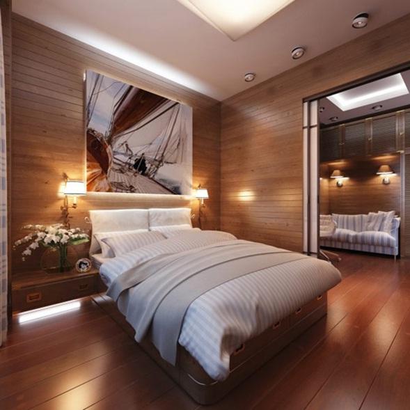 dormitorio panel madera para los accesorios decorativos