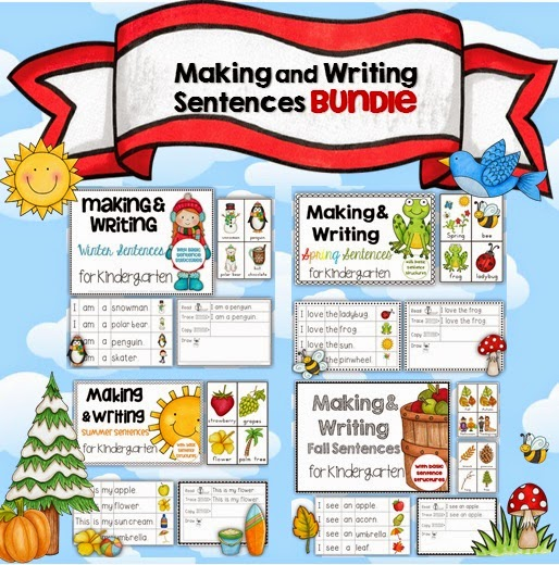 Making and Writing Sentences Winter, Spring, Summer and Fall BUNDLE  This is a bundled file (all one file) of our popular Making and Writing Sentences for Kindergarten series.