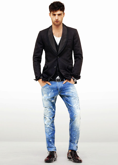 black belt, black blazer, black shoes, black watch, faded jeans, white t-shirt,