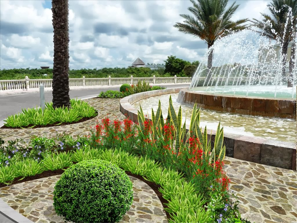diseño jardín fuente - modelo arcos, piso piedra