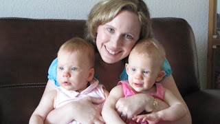 Brenda Rowe with her twin daughters.