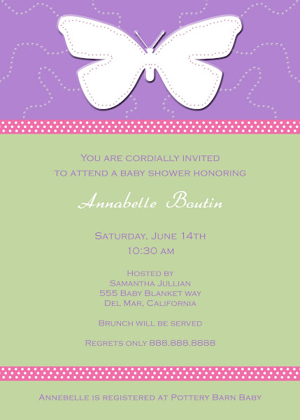 Whimsical Butterfly Baby Shower Invitation