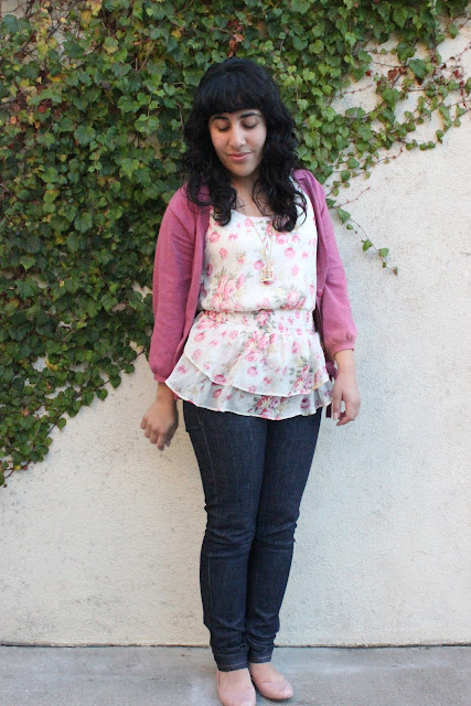 Floral Top and Pink Cardigan