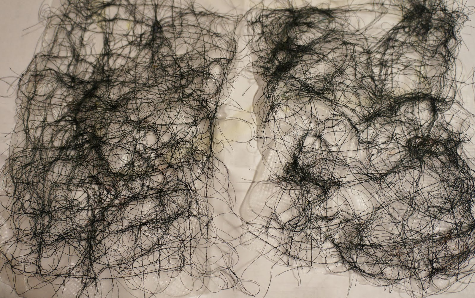 Ginger Wilson Using Leftover Thread To Make Fabric Threads Before Dissolving The Backer Sheet Straight Lines On Left Curved Right