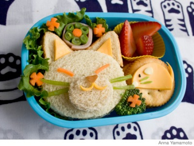 creative party ideas by cheryl how to make cute cat and mouse bento box lunch. Black Bedroom Furniture Sets. Home Design Ideas
