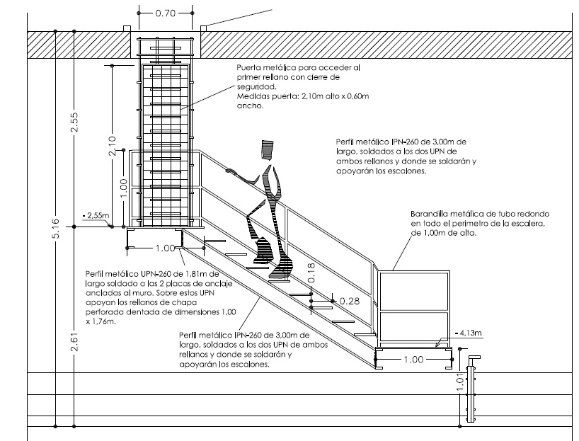 Almuartek trabajos realizados for Plano escalera madera