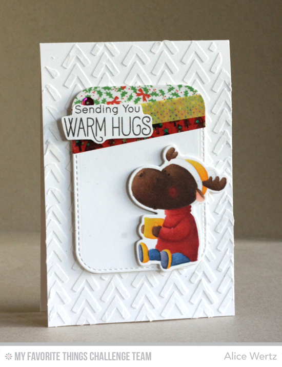 Warm Hugs Christmoose Card by Alice Wertz featuring the Birdie Brown Merry Christmoose stamp set and Die-namics #mftstamps