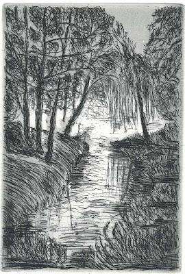 Elsbeth Schneider: An der Panke (Landschaft), Strichätzung, Aquatinta, 2012