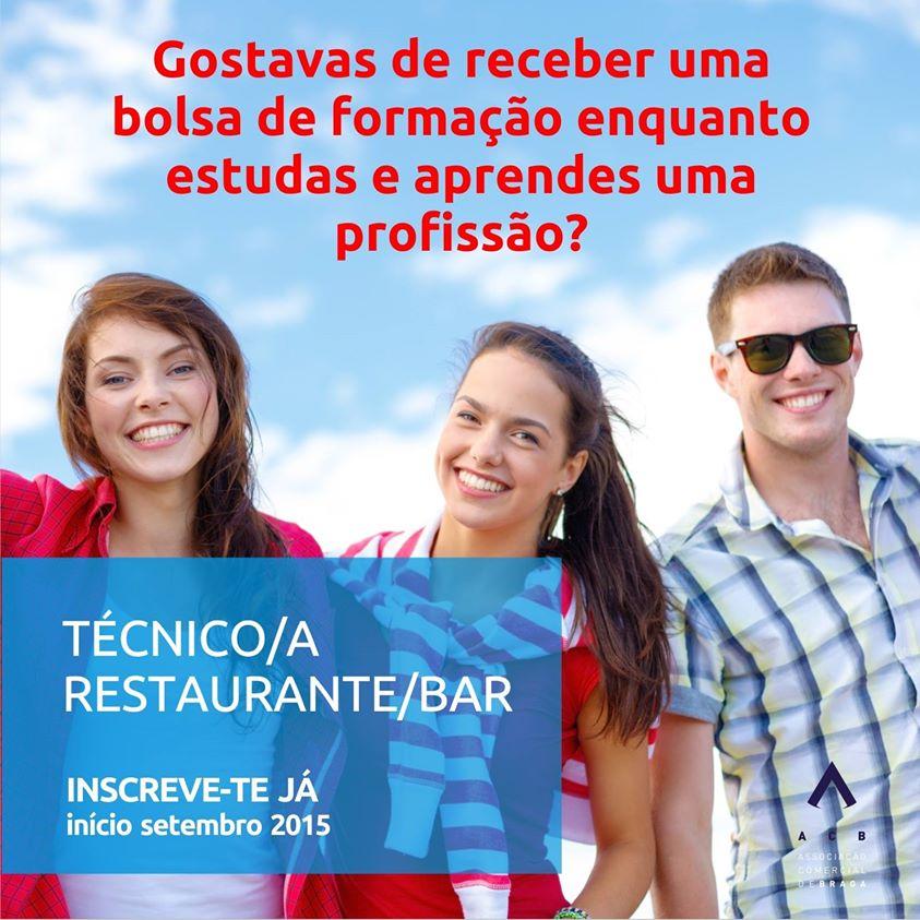 Curso de técnico(a) de restaurante / bar (com bolsa de formação) – Braga