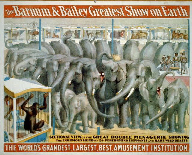 advertising, circus, vintage, vintage posters, retro prints, classic posters, free download, graphic design, The Barnum and Bailey Great Show on Earth - Vintage Circus Poster