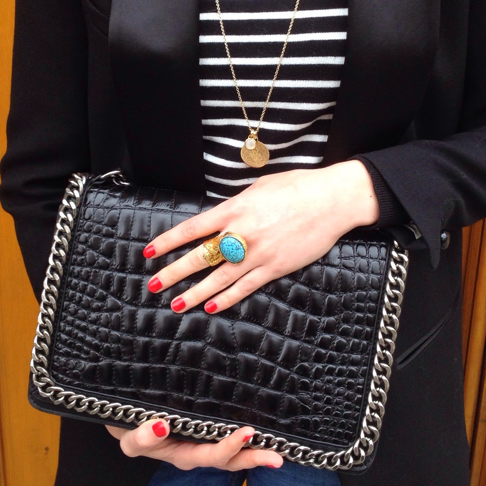 zara bag, zara croco bag, chanel boy bag, chanel boy zara bag, ysl ring, ysl arty, monica vinader, monica vinader necklace