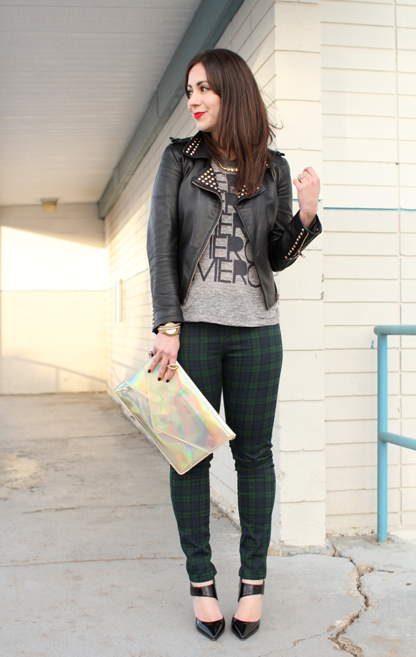 Outfit inspiration mixing plaid and leather