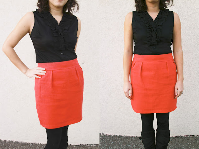 How to turn a larger skirt into a smaller size tutorial/diy. | brewedtogether.com
