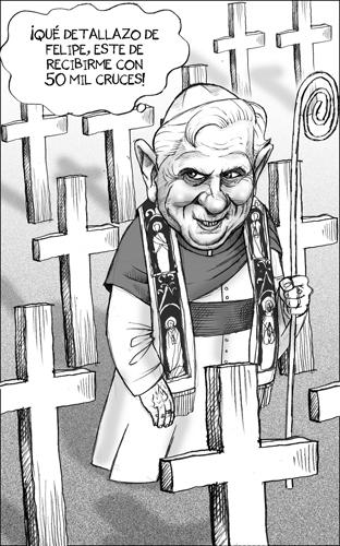 caricatura ratzinger benedicto papa