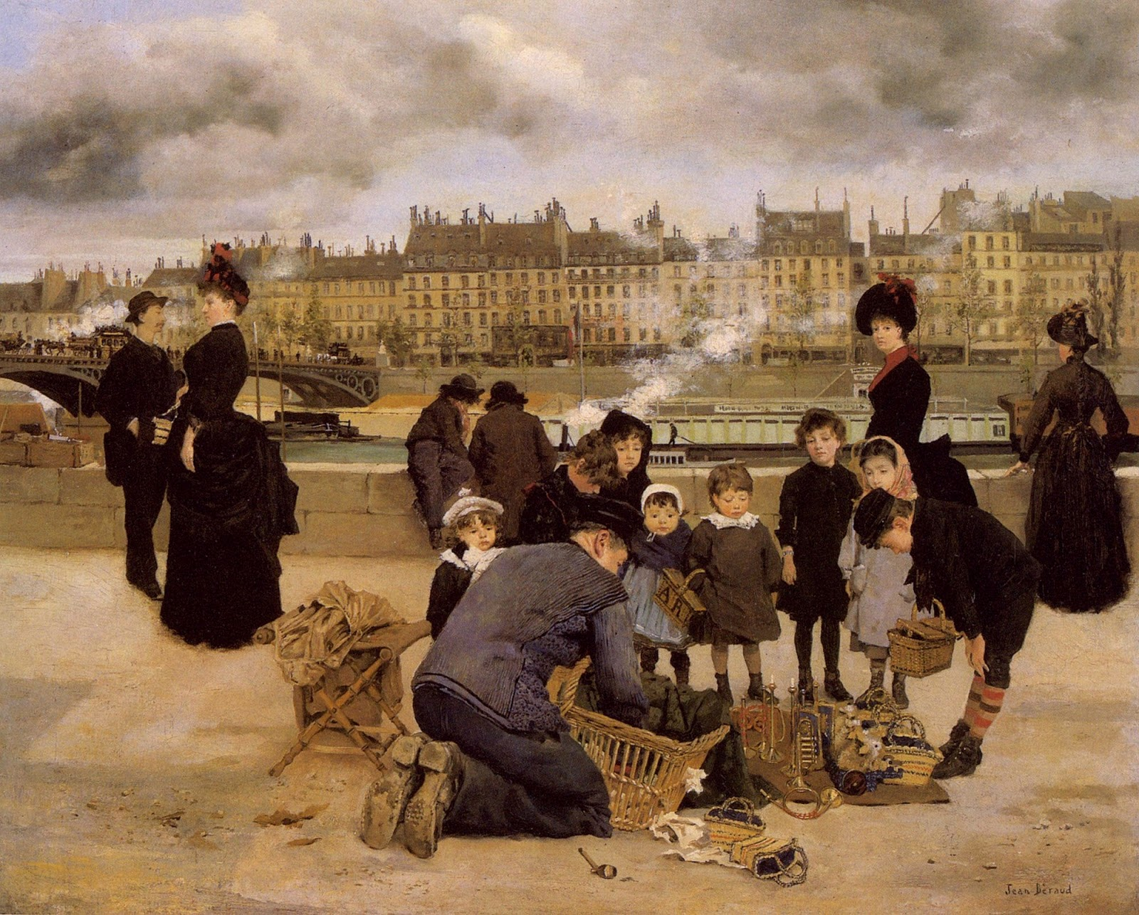 Jean    C Araud  Children  With  a  Toy  Seller  on  the  Quai  du  Louvre