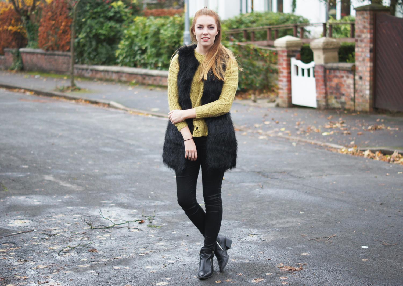 mustard distressed knitwear