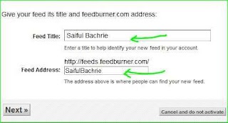 cara instal feedburner