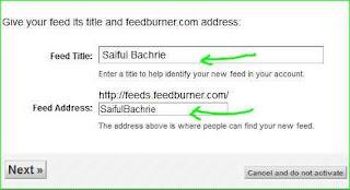 cara instal feedburner