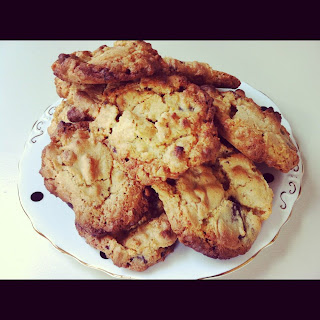 Flourless peanut butter and choc chunk cookies
