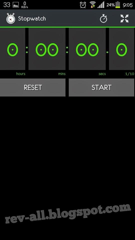 Tampilan utama aplikasi StopWatch & Timer untuk Android (rev-all.blogspot.com)