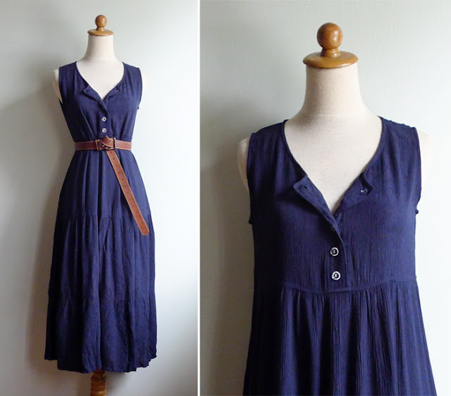 vintage navy blue grunge dress