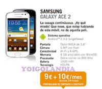 Samsung Galaxy Ace 2 por 9 euros más pago a plazos en Yoigo Febrero 2013