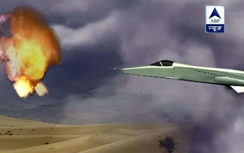 Representación del momento en que el avión de combate derribó el OVNI sobre una localidad de la India.