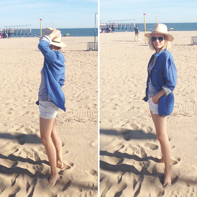 Coney Island beach, toes in the sand, summer 2014, H&M men's blue button down, white Gap short, Ray-Ban aviators, Dorfman Pacific hat
