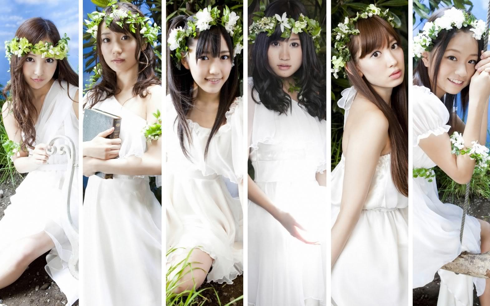 花と草の冠に白いふわふわの衣装で女神のようなAKB48