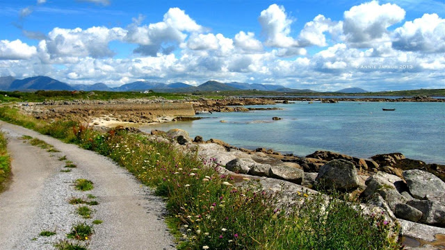 road, clouds, mountains, ocean, Roundstone © Annie Japaud Photography