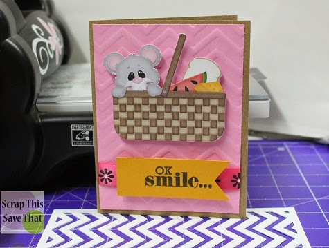 Dry Emboss, Scrapbook, Card, Chevron, Smile