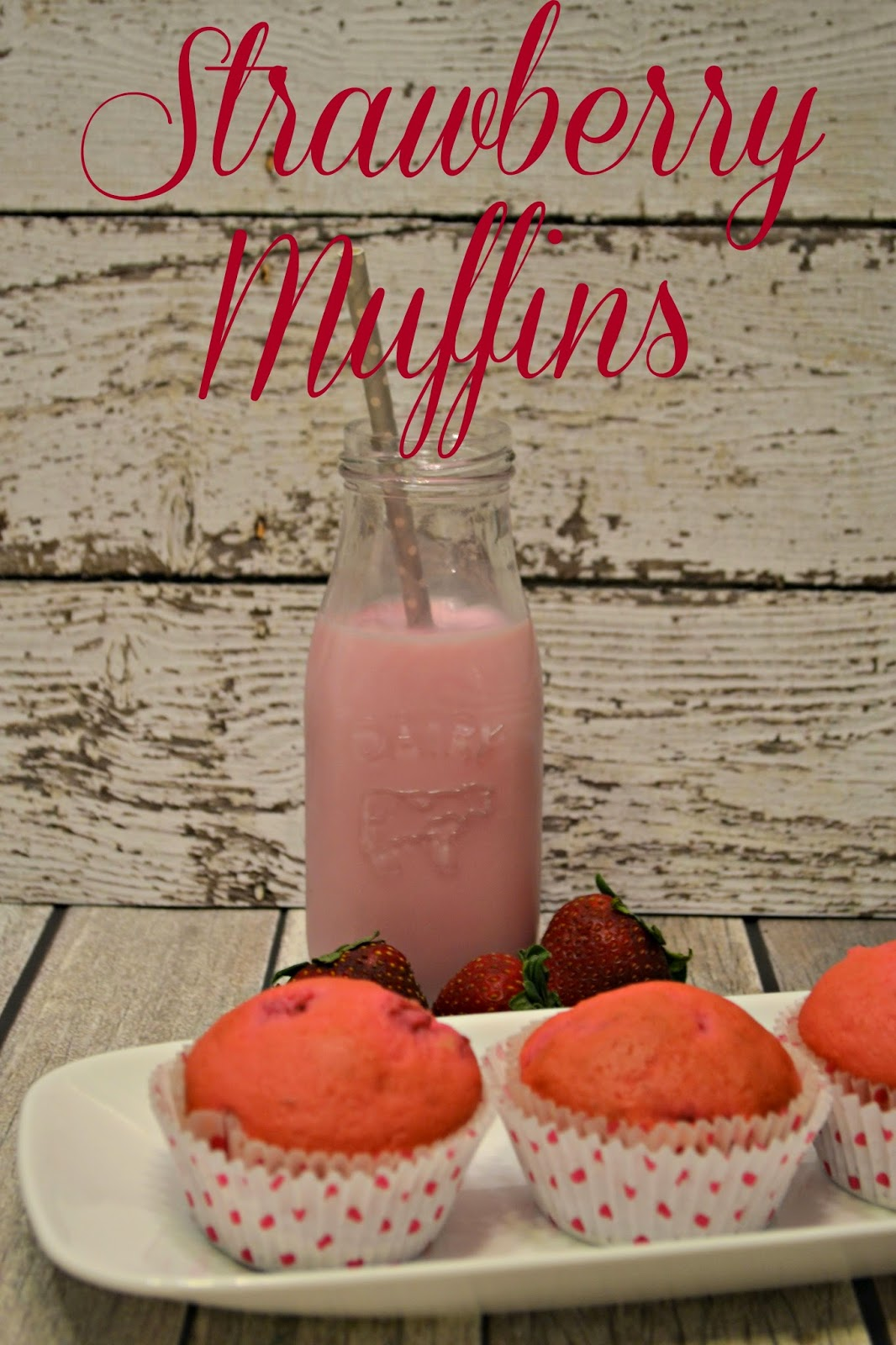 Strawberry Muffins with TruMoo Strawberry Milk #Recipe Strawberry muffin recipe.  easy muffin recipe.  Strawberry milk muffins