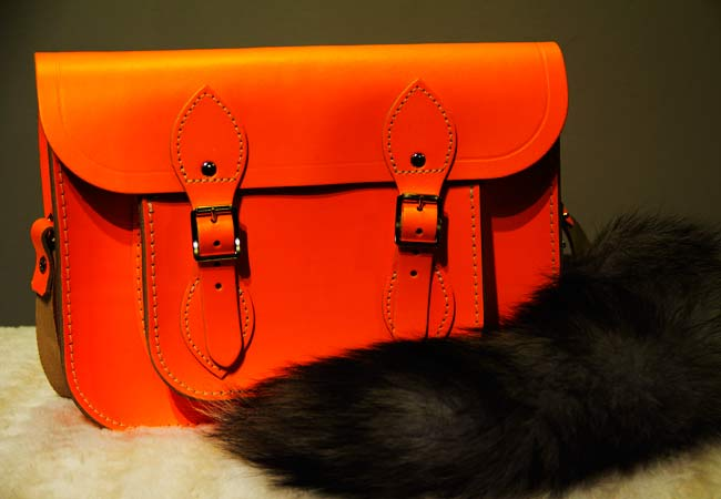 Cambridge Satchel Company, Cambridge Satchel Company Fluoro in Orange, Bright Orange Bag, Faux fox tail, Faux fox tail on bag, Holt Renfrew