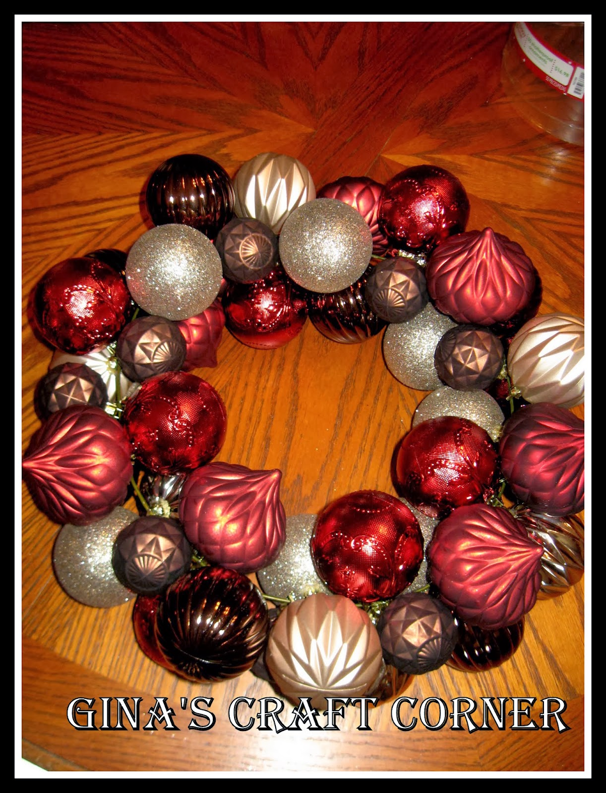 Gina's Craft Corner: How to Make a Christmas Ball Wreath with a Coat Hanger