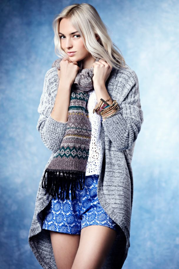 Boohoo China Blue Autumn Winter Chunky Scarf , waterfall cardigan grey, Printed shorts