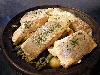 Tajine de saumon aux légumes printanier