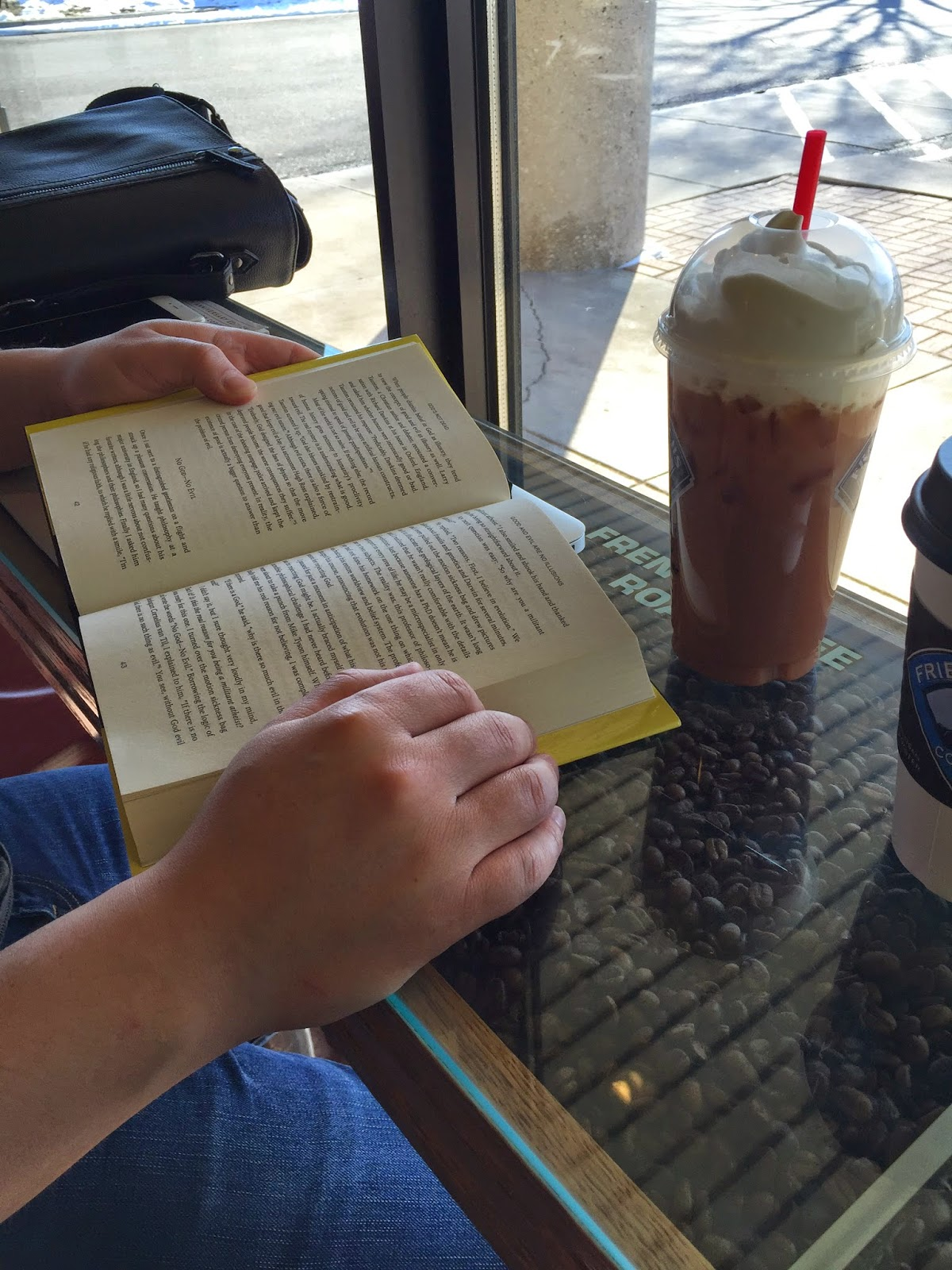 reading books together at the coffeehouse