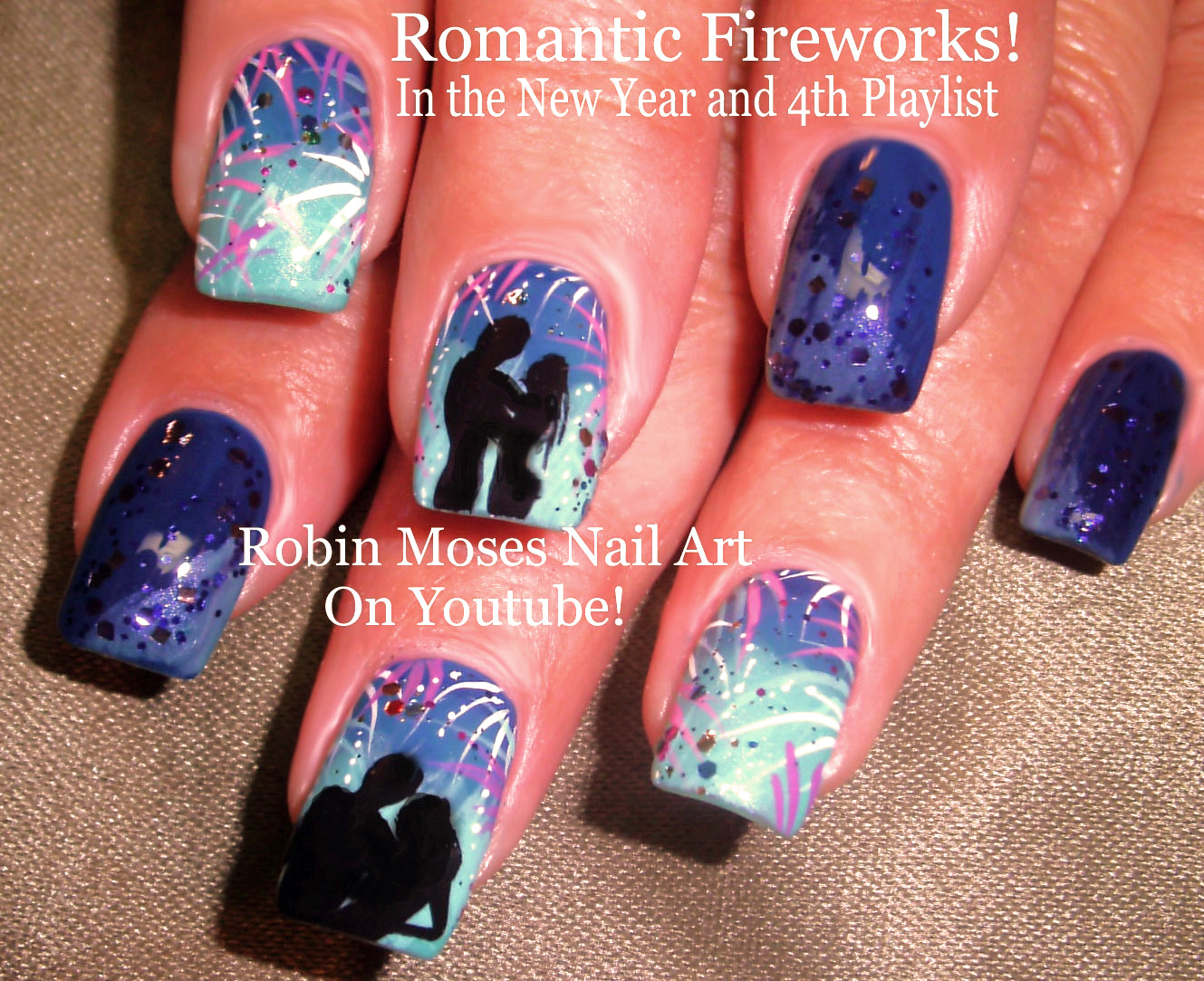 Robin moses nail art 2015 new years eve 2016 nail art design how to paint fireworks prinsesfo Images